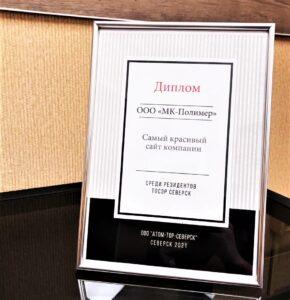 Руководство ТОСЭР отметило нас дипломом за самый красивый сайт